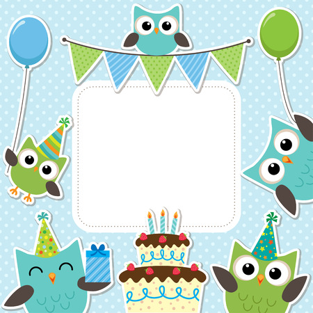 Vector birthday party card with cute owls in blue for boys Çizim