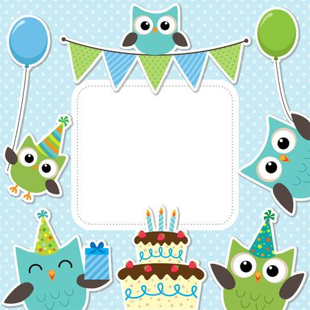 fiesta familiar: Vector tarjeta de la fiesta de cumpleaños con los búhos lindos en azul para los muchachos Vectores