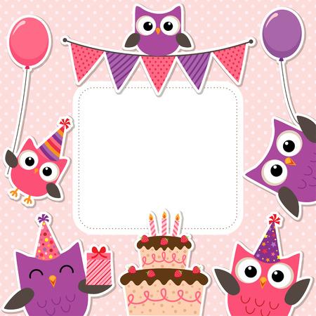 marco cumpleaños: Vector tarjeta de la fiesta de cumpleaños con los búhos lindos en rosa para las niñas