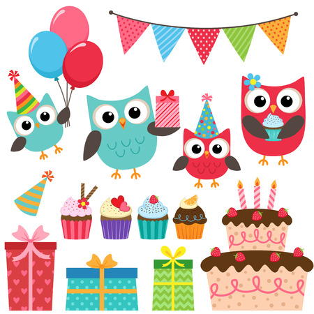 Set of vector birthday party elements with family of cute owls