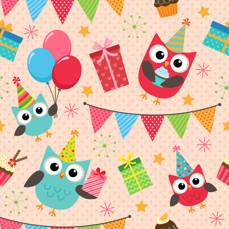 birthday party background: Vector birthday party background with cute owls Illustration