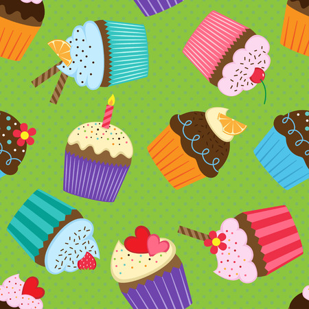 Vector seamless pattern with colorful and tasty cupcakes Illustration