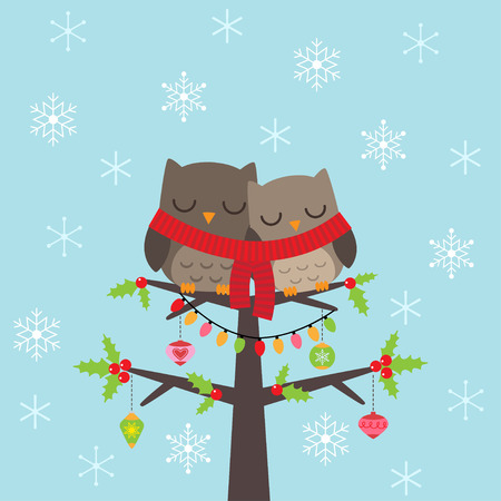 christmas cartoon: Template of Christmas card with couple of owls Illustration