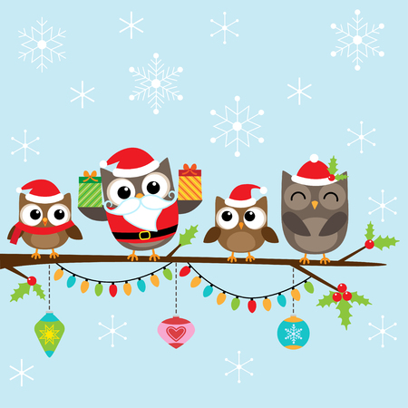 christmas owl: Christmas card with family of cute owls