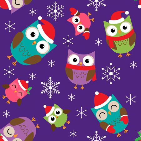 Seamless Christmas vector pattern with cute owls