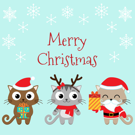 christmas cute: Christmas card with cute cats in costumes Illustration