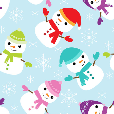 kid illustration: Vector seamless pattern with cute snowmen and snowflakes Illustration