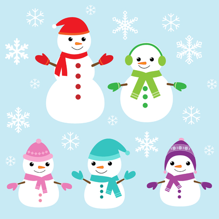 snowman background: Set of vector cute snowmen and snowflakes