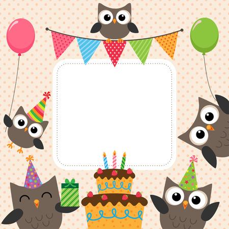 niños con pancarta: Vector tarjeta de la fiesta de cumpleaños con los búhos lindos