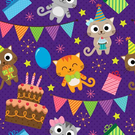 bebes niñas: fondo de la fiesta de cumpleaños con los gatos lindos Vectores