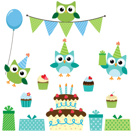 blue party: birthday party set with cute owls in blue for boys Illustration