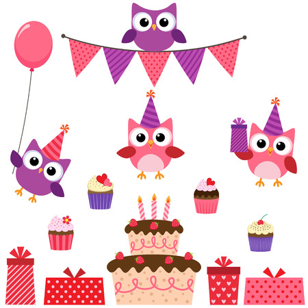 party hat: birthday party set with cute owls in pink for girls