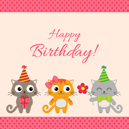funny cats: birthday party card with funny cats