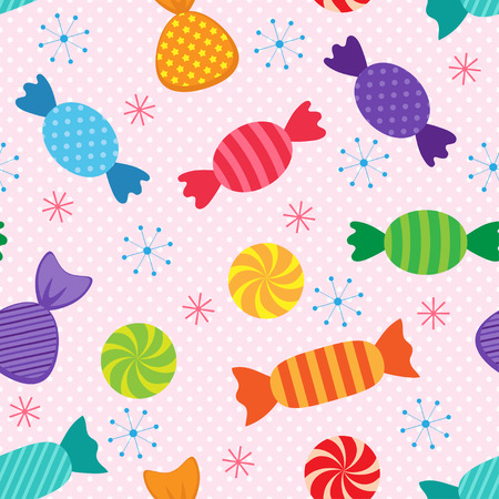tasty: seamless pattern with colorful and tasty sweets
