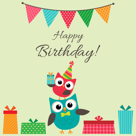 children birthday: birthday party card with cute owls