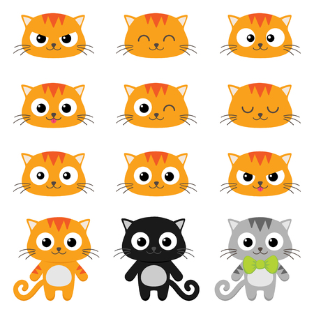 grey cat: Set of different cartoon cats with various emotions Illustration