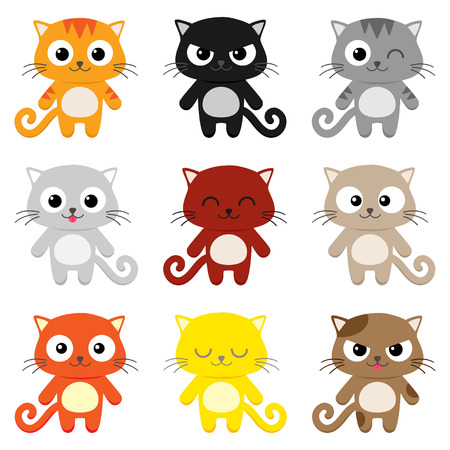 Conjunto de 9 gatos de dibujos animados con expresiones Vaus