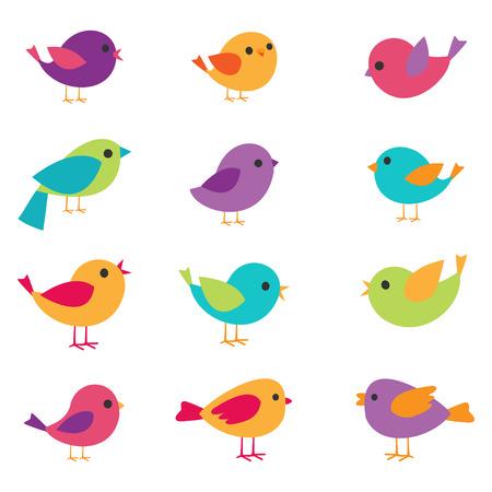 Wektor zestaw kolorowych i jasnych ptaków Ilustracje wektorowe