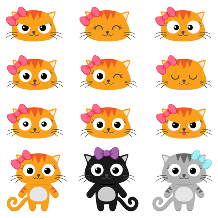happy cat: Set of different cartoon cats with various emotions Illustration