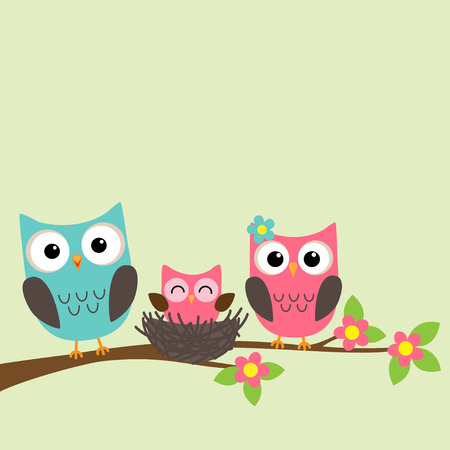 Cartoon family of owls sitting on a blooming branch
