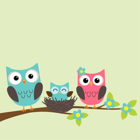 branch: Famille des hiboux avec owlet nouveau-né assis sur la branche d'arbre en fleurs Illustration
