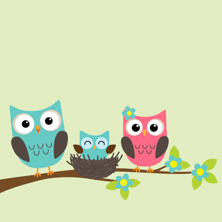 Family of owls with newborn owlet sitting on the branch of blooming tree Ilustração