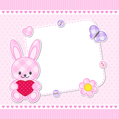 birthday invitation: Card with pink bunny for girl. Vector template with place for your text