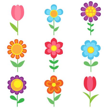 Conjunto de flores de diferentes vectores. Iconos de flores brillantes y coloridas