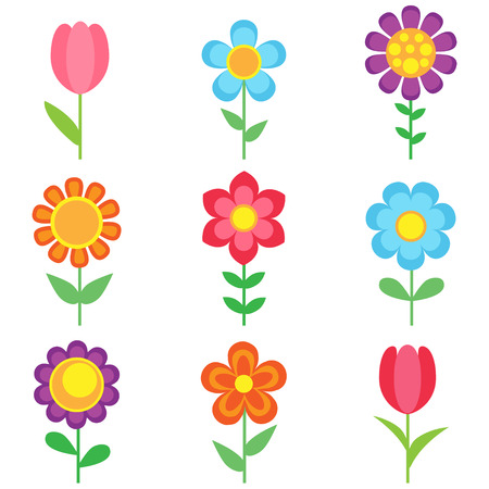Set of different vector flowers. Bright and colorful flower icons Vettoriali