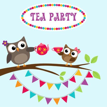 Tee-Party-Einladung mit niedlichen Eulen auf Zweig mit Teekanne und Tasse