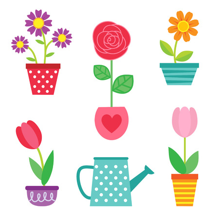 garden flower: Cute vector set of flowers in pots and watering can