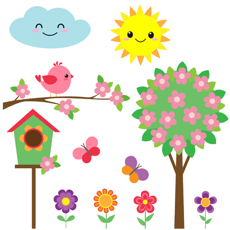 Vector set of birds, flowers, butterflies and blooming tree