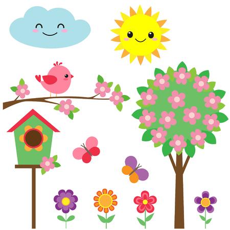 Wektor zestaw ptaki, kwiaty, motyle i kwitnące drzewa
