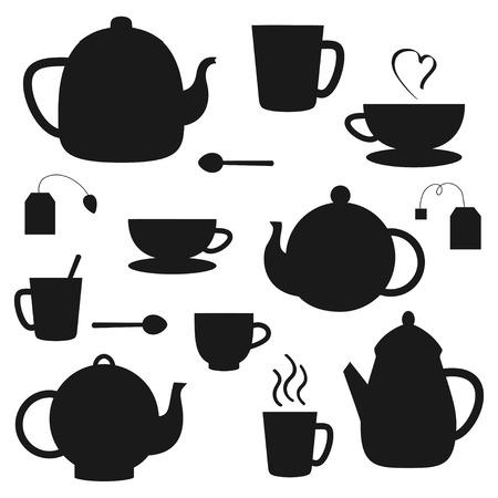 Vector set de pots de thé noir et tasses silhouettes