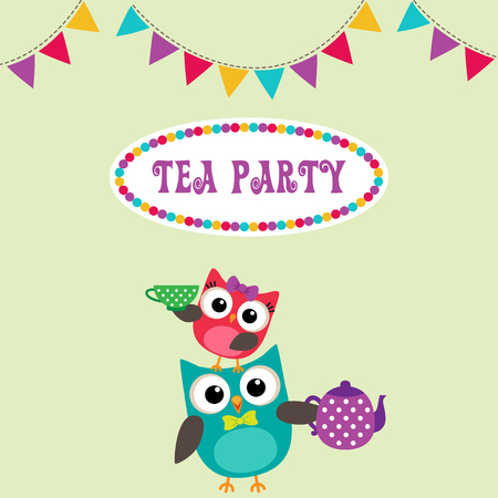 teapot: Tea party invitation with cute owls with teapot and cup