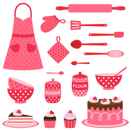 Cute vector icons collection on baking theme in pink and red colors Vettoriali