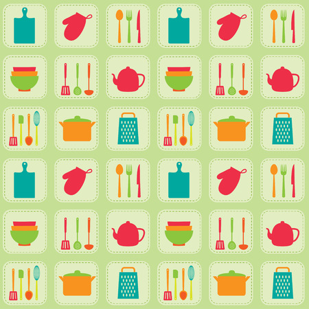 utensil: Kitchen tools seamless vector pattern. Utensil and kitchenware icons
