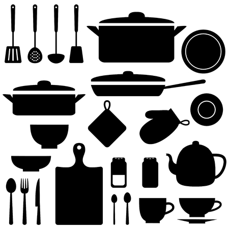 Vector silhouettes of kitchen tools and utensil