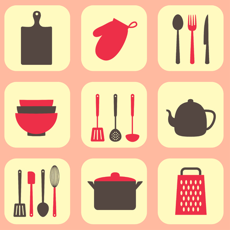 kitchen tools: Kitchen tools vector pattern. Utensil and kitchenware icons Illustration