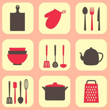 attrezzi cucina utensili da cucina di disegno vettoriale utensile e la cucina icone