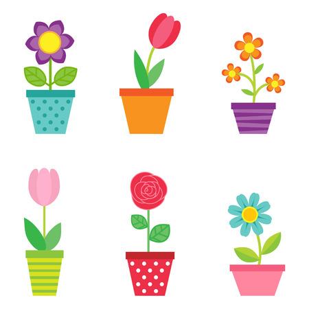 Vector lindo conjunto de flores en macetas
