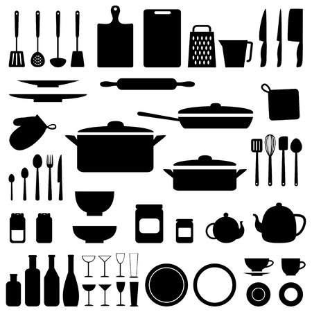 Vector silhouettes of kitchen tools and utensil in black color