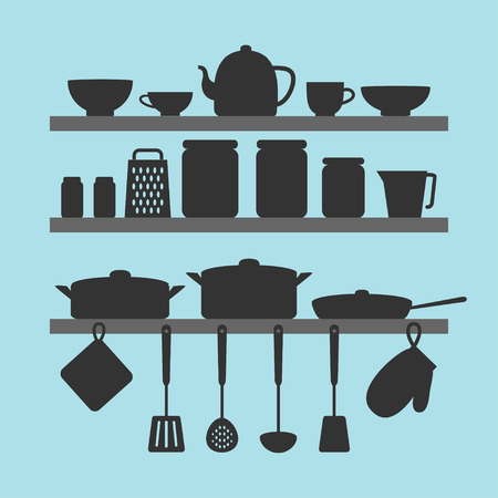 Vector silhouettes of kitchen tools on shelves