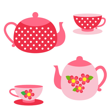 pots: Vector set of tea pots and cups in  red and pink colors