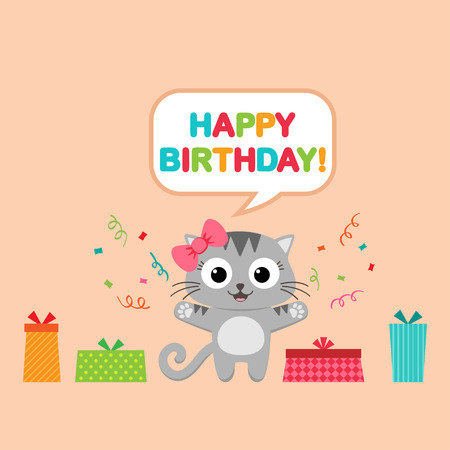 speech buble: Vector birthday party card with funny cat