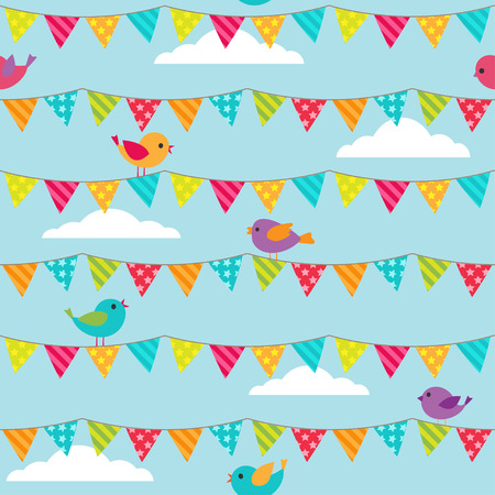 aves caricatura: Seamless vector pattern with bunting and sitting birds on blue background Vectores