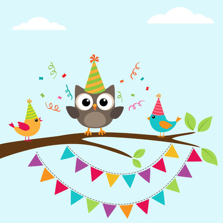 owl illustration: happy birthday greeting card with birds on tree Illustration