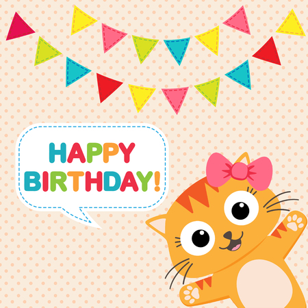 funny cat: birthday party card with funny cat