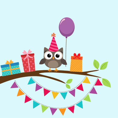 niños con pancarta: tarjeta de la fiesta de cumpleaños con el búho lindo en árbol