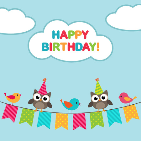 birds cartoon: Happy birthday card with birds and owls sitting on bunting